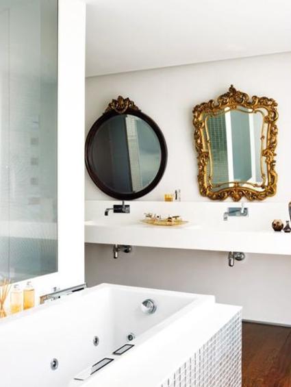 Baño Vintage Moderno:Mezclar diferentes estilos decorativos pueden dar como resultado un