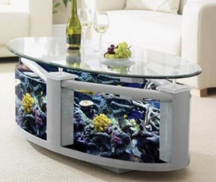 mesita con pecera : Otra posibilidad es colocar el acuario en el living pero de una manera ...