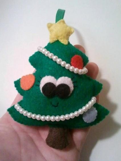 Decoraciones de fieltro para el rbol navide o - Arbol de navidad con adornos de fieltro ...