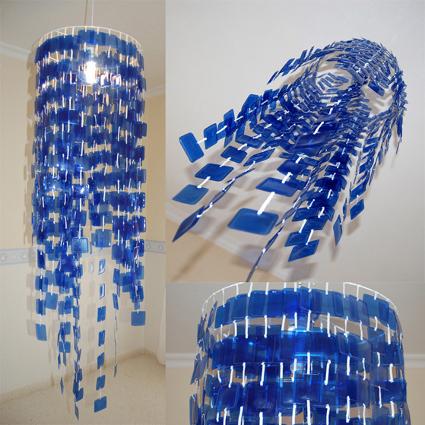 L mpara colgante hecha con botellas recicladas - Lamparas de techo hechas en casa ...