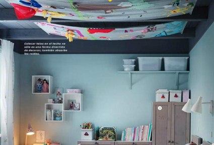 Decorar el techo de una habitaci n infantil - Cama con techo de tela ...