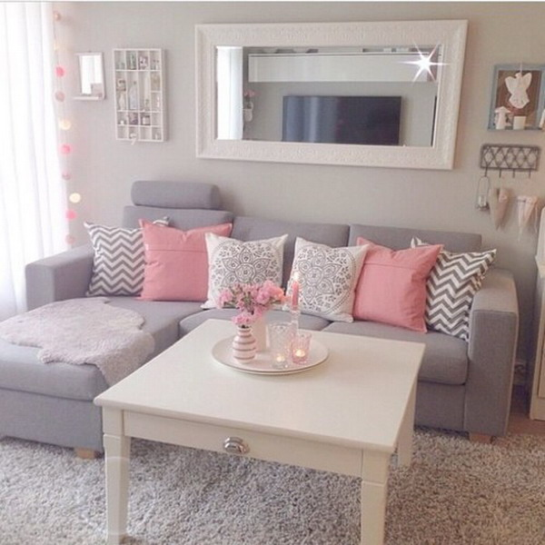 Color gris en la decoraci n del living decoratrucosdecoratrucos - Romantic living room ideas for feminine young ladies casa ...