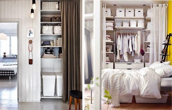 Vestidores abiertos con cortinas ideas de armarios con cortinas decoratrucos - Organizar armarios empotrados ...