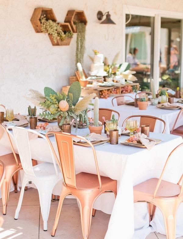 Mesas decoradas con cactus