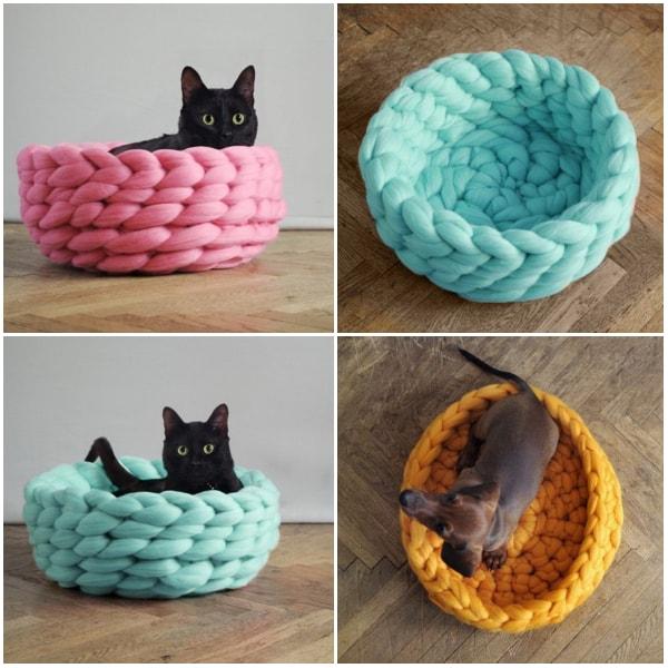 Camas para mascotas tejidas con lanas merino