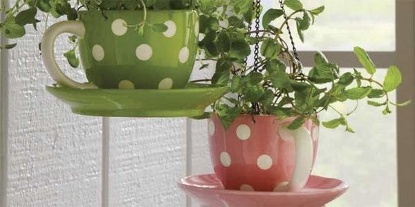 Maceteros con tazas recicladas