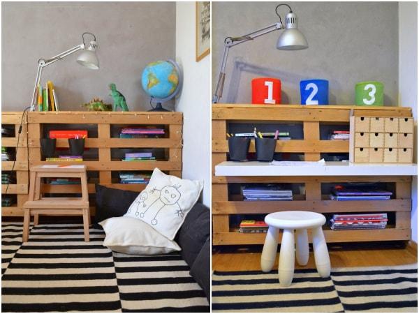 Zona de estudio infantil con palets de madera