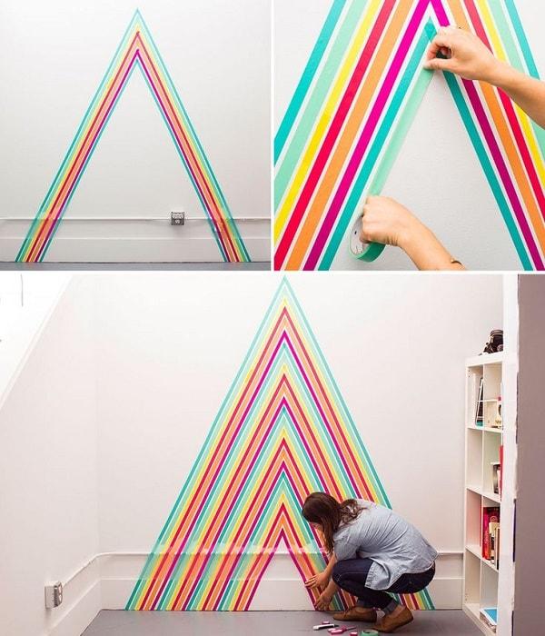 Pared decorada con washi tape