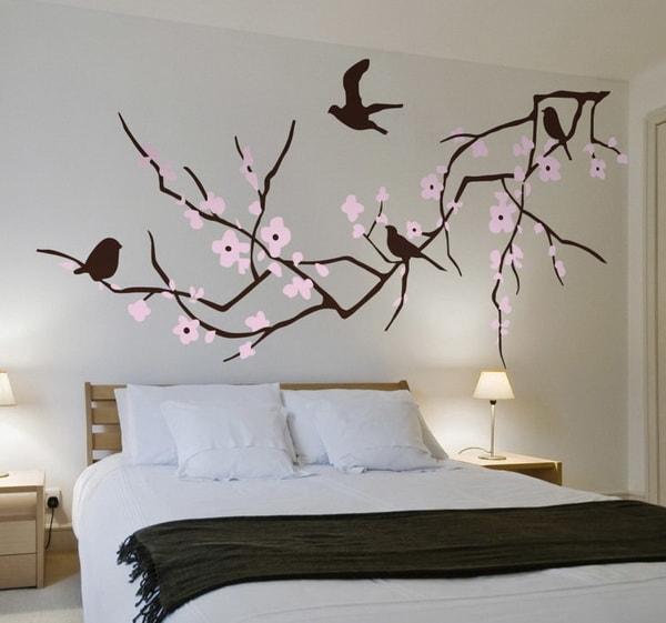 Vinilo con flores y aves