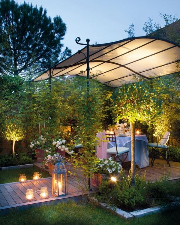 Decoración de jardines con velas