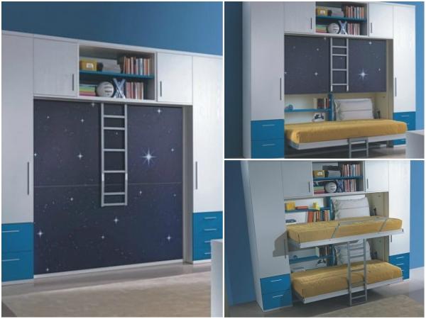 Camas inteligentes escondidas en un armario