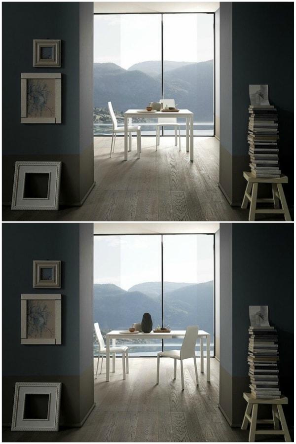 Mesa extensible antes y después