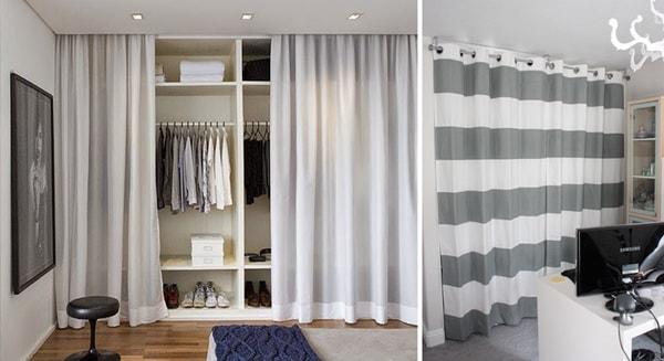 Vestidores abiertos con cortinas