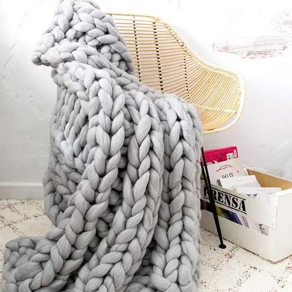 Mantas tejidas con lanas XXL