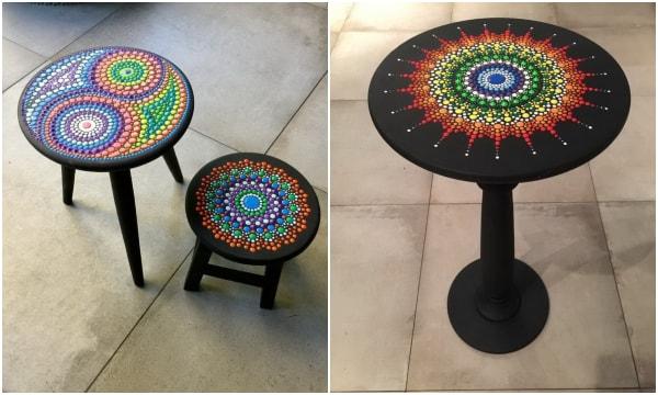 Muebles con mandalas pintados