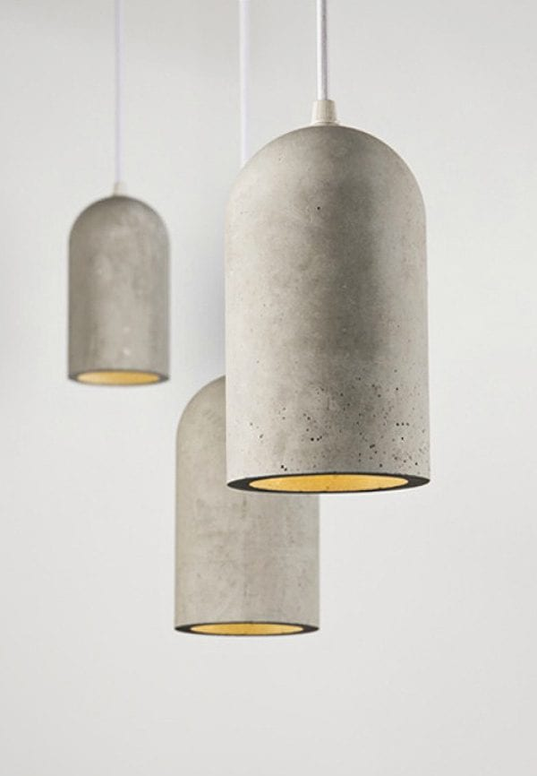 Lámparas colgantes hechas con cemento