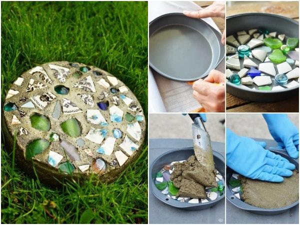 Baldosas DIY con cemento para senderos de jardines