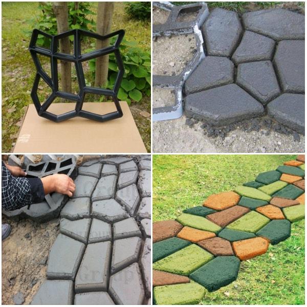 Senderos para jardines hechos con baldosas de cemento