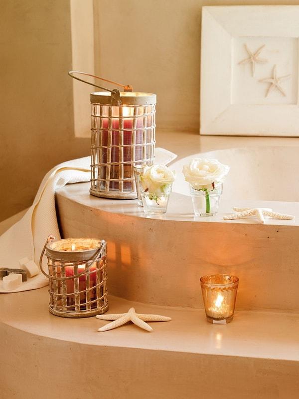 Farolillos artesanales para decorar el baño