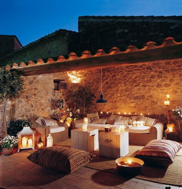 Ideas para decorar terrazas con velas