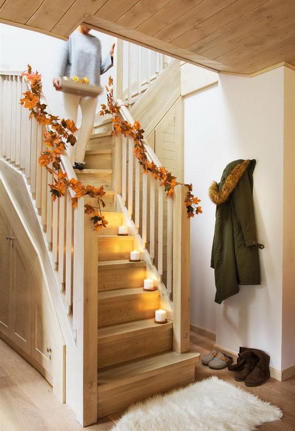Decoración de escaleras con velas