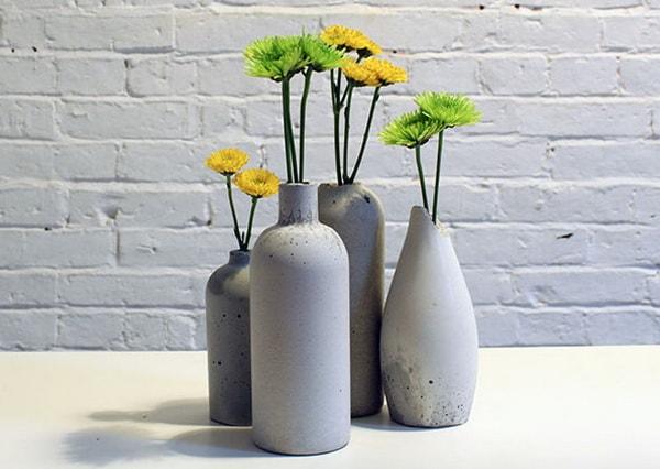 Floreros DIY hechos con cemento