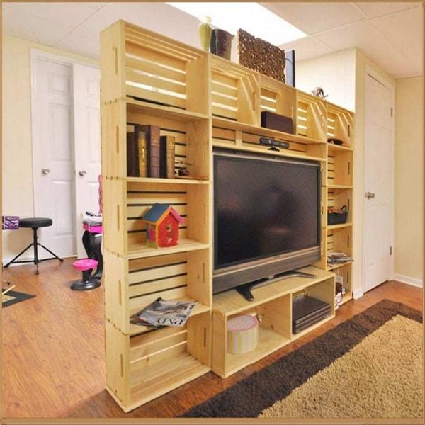 Dividir ambientes con cajas de madera