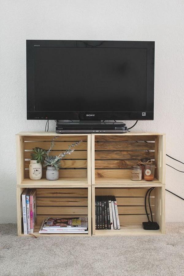 Muebles de TV con cajas de madera