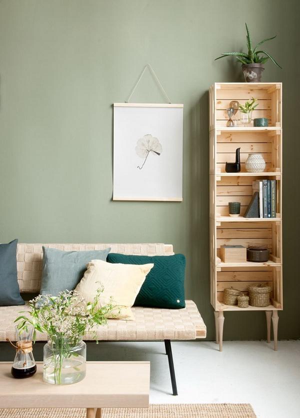 Muebles de salón con cajas de madera