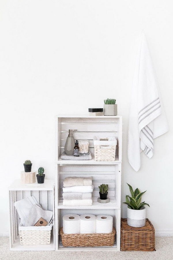 Muebles de almacenaje con cajas de madera