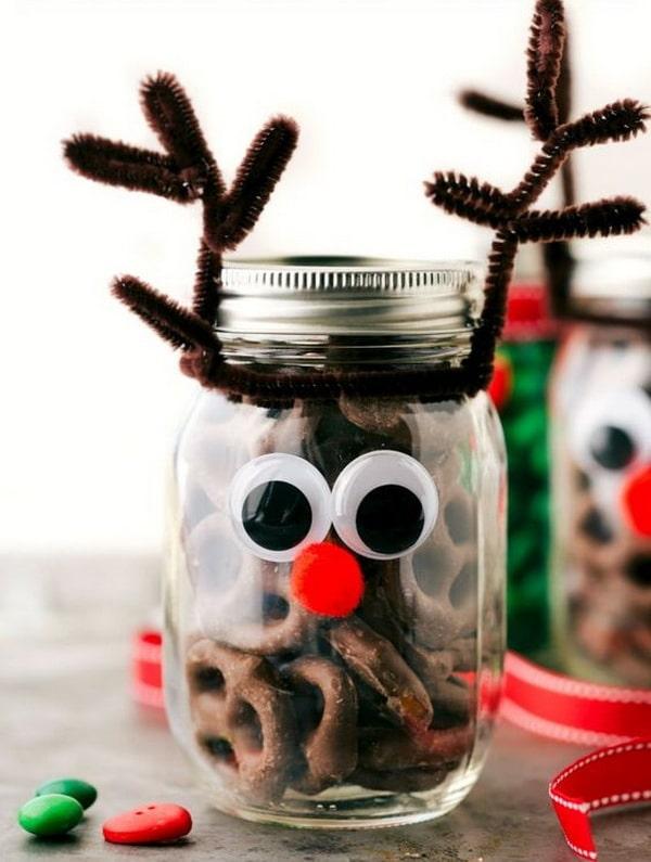 Dulces navideños en frascos de cristal