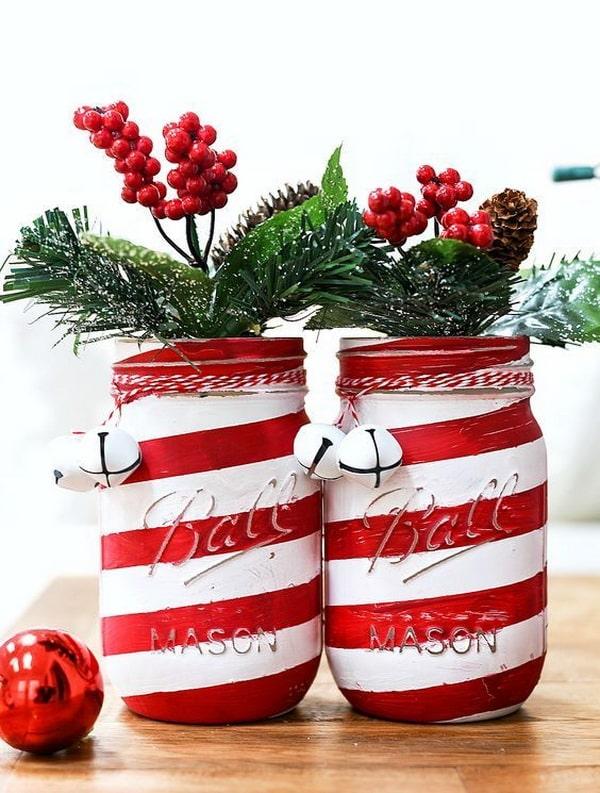 Arreglos navideños con frascos de cristal