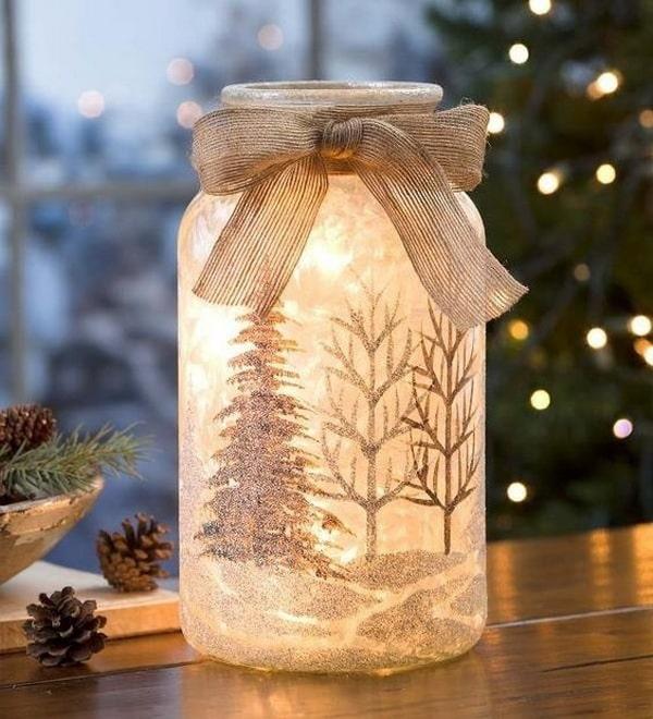 Manualidades navideñas con tarros de cristal