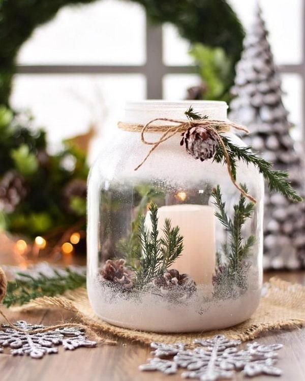 Manualidades de Navidad con frascos de vidrio